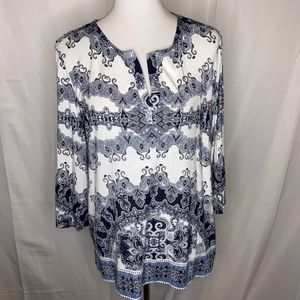 Chico's Navy Blue & White Blouse, Size 3